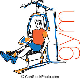 Sketch of man using pulldown machine in gym. Vector...