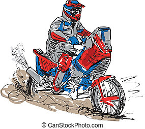 Sketch of motocross bike increase speed in track Vector...