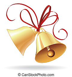 Bell golden for Christmas or wedding with red bow icon,...
