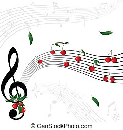 3d stave on a white background - Music notes as cherry berry...