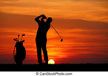 Golf at sunset - Golf silhouette illustration