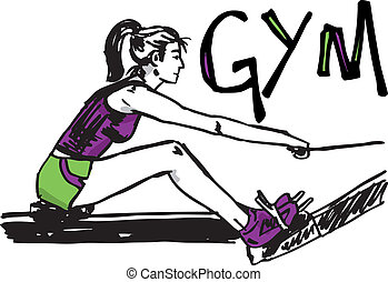 Sketch of woman exercising on machines at gym - health club....