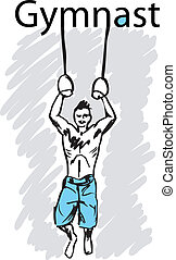 sport gymnastics rings. vector illustration