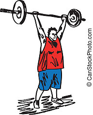 Sketch of overweight man with barbells. Vector illustration