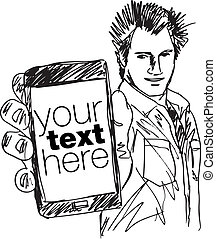 Sketch of Handsome guy showing his Modern Smartphone. Vector...