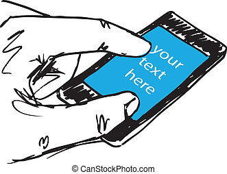 Sketch of Man's Hand Touching Screen of Modern Smartphone....