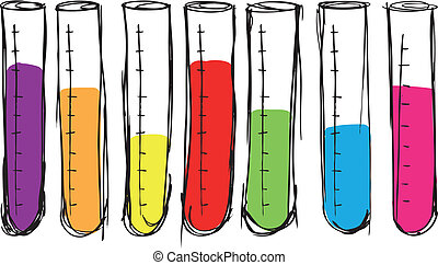 Sketch of test tube vector illustration