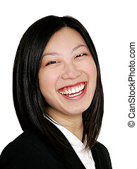 asian business woman smiling - happy young asian girl as a...