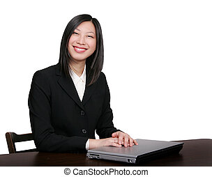 smiling asian business woman - young attractive female asian...
