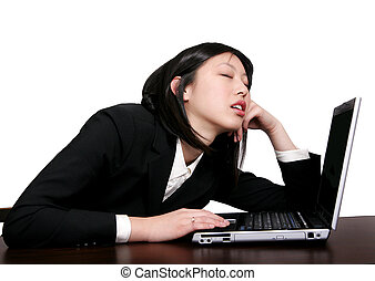 asian business woman sleeping - young businesswoman asleep...