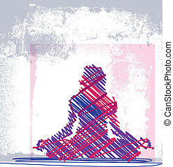 Abstract Sketch of Woman meditating and doing yoga Vector...