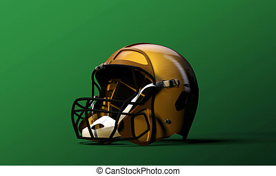 football helmet isolated on green background