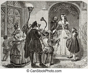 Christmas queen - Old illustration of Christmas Queen,...
