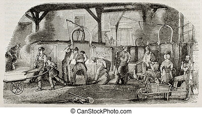 Foundry - Old illustration of iron production: foundry in La...