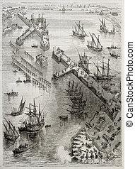 Siege of La Rochelle: view of Richelieu breakwater built by...