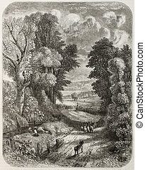Hampstead - Old landscape of Hampstead, at present days...