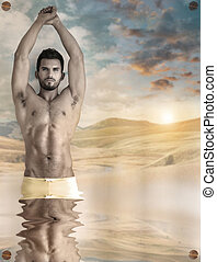 Fantasy sexual man - Concept abstract image of a beautiful...