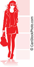 Fashion model - A fashion model in red silhouette