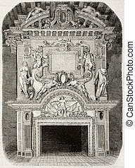 Cadillac castle fireplace - Antique illustration of an old...