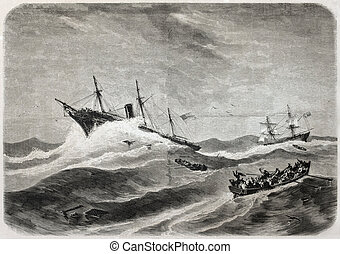 SS Central America shipwreck - Old illustration of SS...