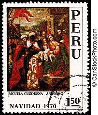 Wisemen Visit Jesus Mary Cuzco School Peru - PERU - CIRCA...