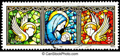 Virgin Mary Jesus Stained Glass Malta - MALTA - CIRCA 1996:...