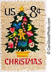Needlepoint Christmas Tree Burlap - UNITED STATES - CIRCA...