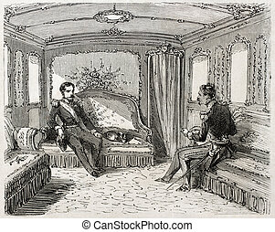 Lounge coach - Old illustration of lounge coach in the...
