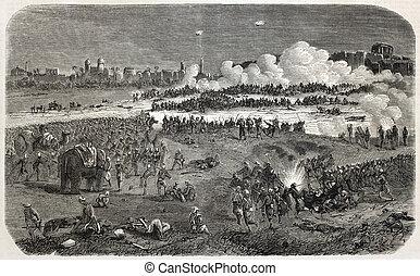 Indian rebellion - Old illustration of battle between...