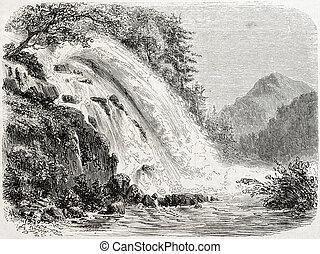 Calcaggia falls - Old illustration of Calcaggia waterfalls,...