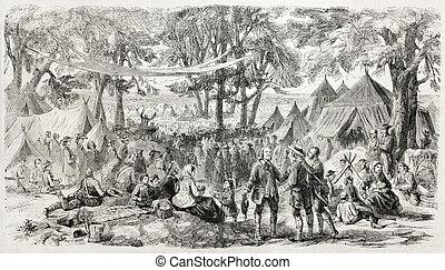 Methodist meeting - Old illustration of a Methodist meeting...