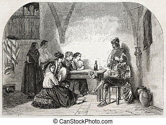 Seguidilla - Old illustration of man and woman plaiing...