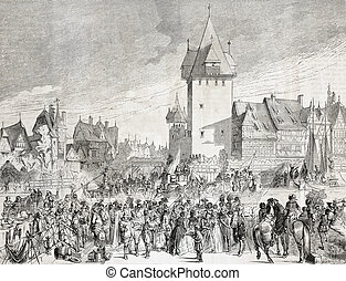 Strasbourg - Old view of Strasbourg, France. Created by...