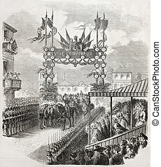 Entering in Strasbourg - Old illustration of Napoleon III...