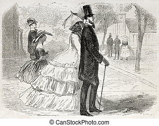 Going to church - American way of life: old illustration of...