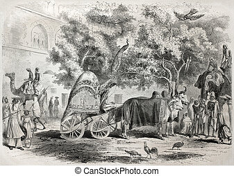 Mughal palace court - Old illustration of Grand Mughal...