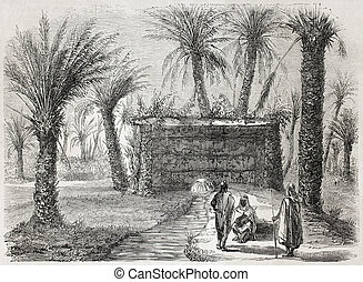 Tamerna Kedima artesian well - Old illustration of artesian...