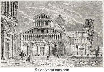 Pisa cathedral - Old view of Pisa cathedral in miracles...