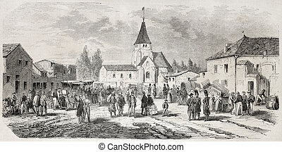 Grand Mourmelon - Old view of Grand Mourmelon village,...