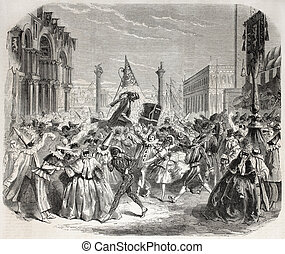 Venice Carnival - Old Illustration of Carnival in Venice...