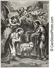 Nativity - Old illustration of the holy Nativity. Egraved by...