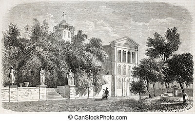 Villa Sardou - Old view of Villa Sardou, Cannes. Engraved...