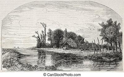 Delft surroundings - old landscape illustration: Delft...