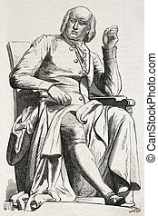 Hauy - Old illustration of a statue of Rene Just Hauy (abbe...