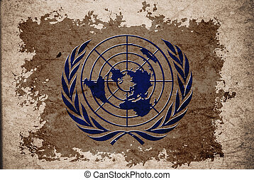 United Nation or UN flag on old vintage paper, can be use...