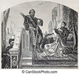 Othello - Old illustration of Othello telling his battles...
