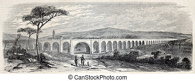 Nabresina viaduct - Old illustration of Nabresina viaduct...