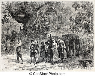 Funereal procession - Old illustration of a funereal...