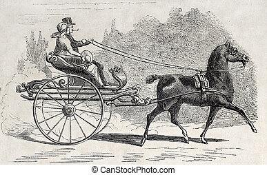Old time gig - Antique illustration of an Dutch old time...
