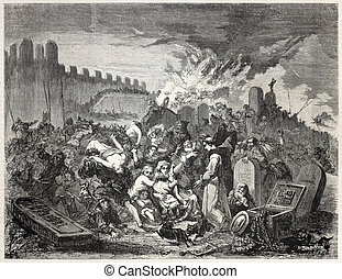 Torment of Jews - Old illustration depicting torment of...